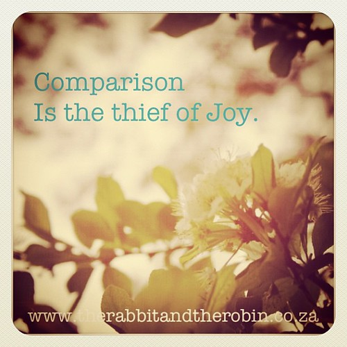 Comparison is the thief of Joy #quote by rabbitandrobin