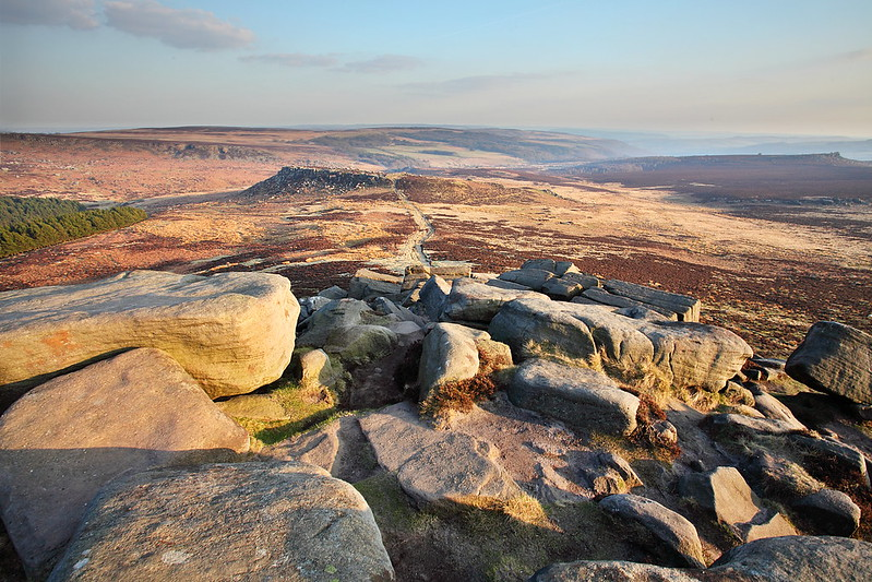 Sunset on Higger Tor and Carl Wark in South Yorkshire and the Derbyshire Peak District