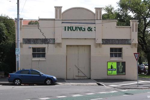 Massive crack in the facade of 243-251 Flemington Road, North Melbourne