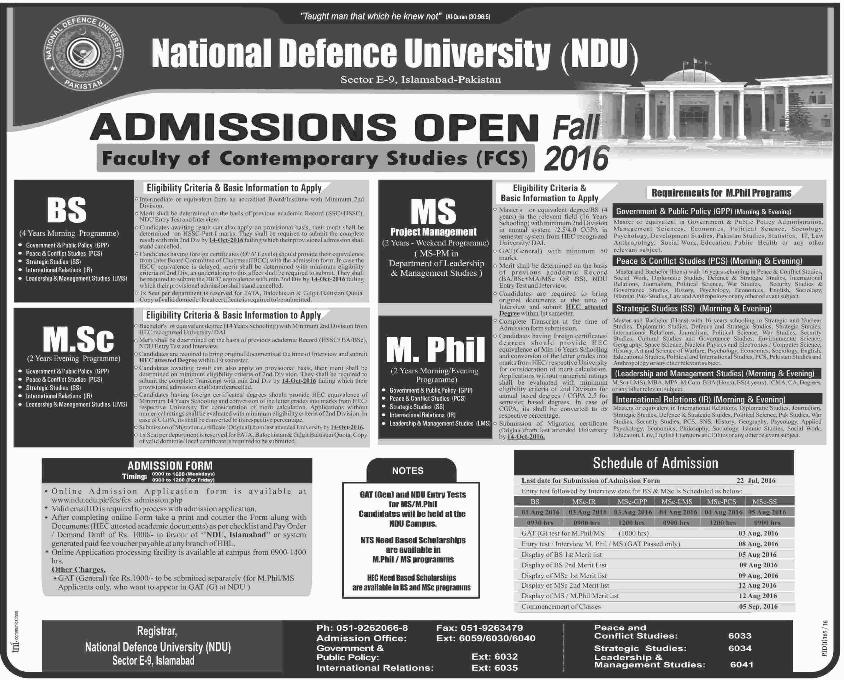 National Defense University Islamabad Admisions