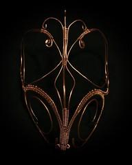 #wire #mask front view. #wire #sculpture #wiresculpture #wireweaving #wireweave #wirewrapping #wirewrap #metalart #art #artwork #elleraok #artist #copper #steel #joshuatree #desert #highdesert #fashion #highfashion #wearableart