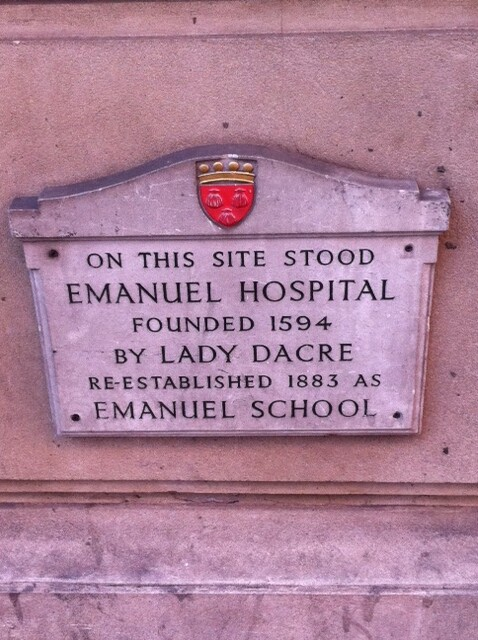 Emanuel Hospital, London, Emanuel School, London, and Anne Fiennes stone plaque - On this site stood Emanuel Hospital founded 1594 by Lady Dacre re-established 1883 as Emanuel School