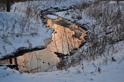 sunset sky snow water grass creek michigan annarbor
