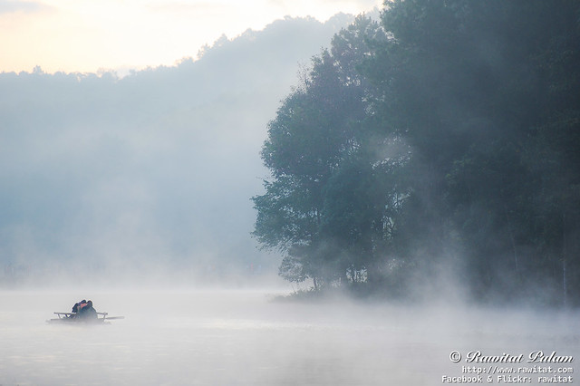 Raft in Misty Dawn
