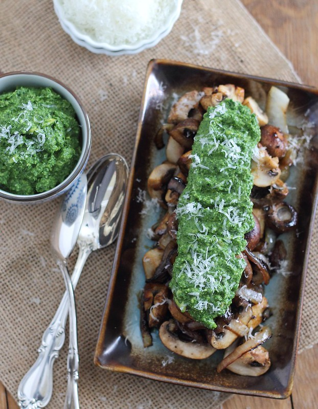 caramelized mushrooms served with a green pesto guacamole