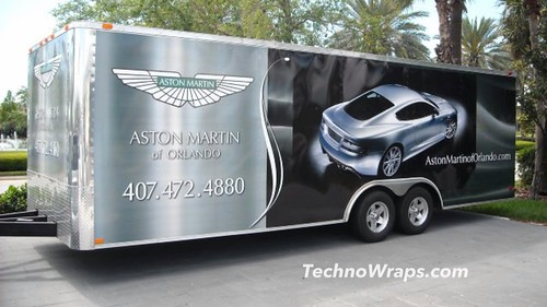 Wrapped trailer graphics in Orlando