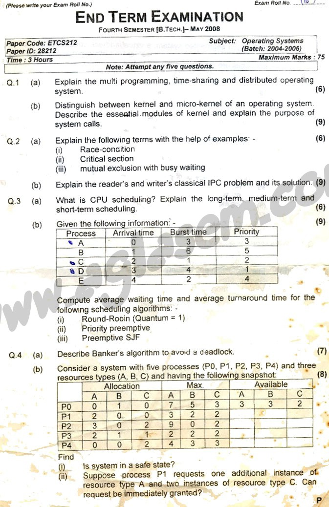 GGSIPU Question Papers Fourth Semester – end Term 2008 – ETCS_212
