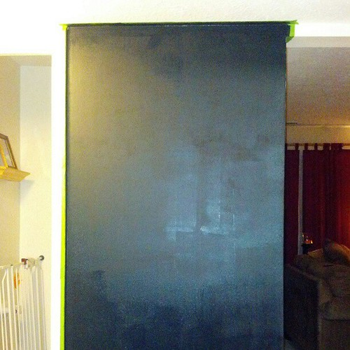 Chalkboard wall drying in progress