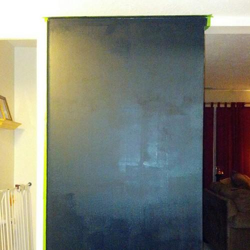 Chalkboard wall drying in progress