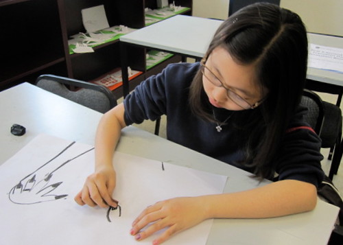 Drawing with wood charcoal, Yew Chung International School of Beijing 10