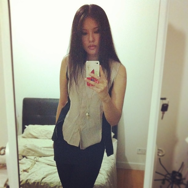 Ootd. Dip-back tuxedo style top from @whitesoot #fashion #ootd #lookoftheday