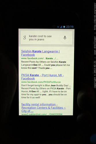 """google spoken query for """"karate kata seiunchin"""" interpreted as """"karate cost to see you in jeans""""    MG 2532"""