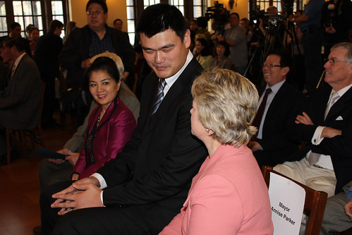 February 15th, 2013 - Yao Ming speaks with Houston Mayor Annise Parker before being presented a proclamation as well as a key to the city