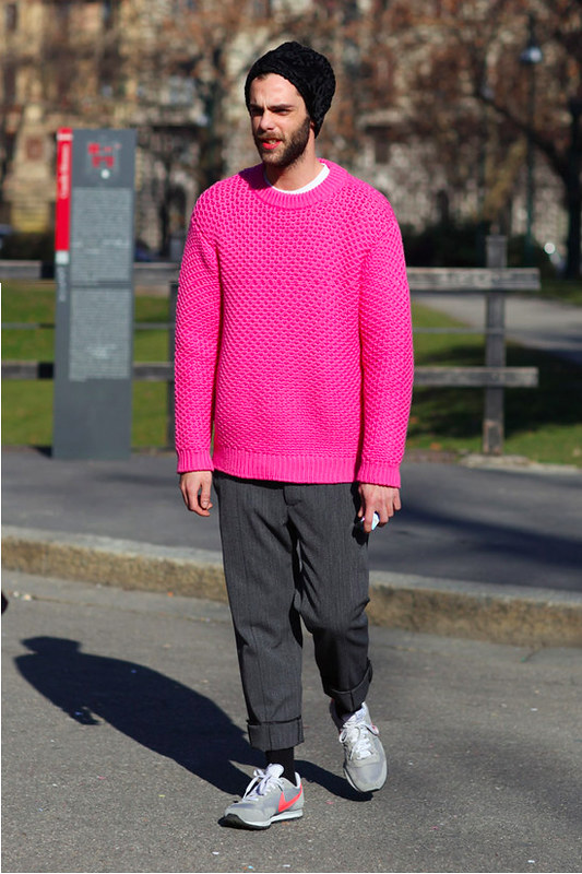 prada pink chunky sweater knit