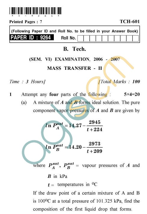 UPTU: B.Tech Question Papers - TCH-601 - Mass Transfer-II