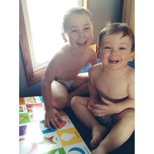 Smiles all around this morning, after the boys' first night together in their room! Two wake ups from Ezra, but Isaac stayed asleep. #boymama #siblings