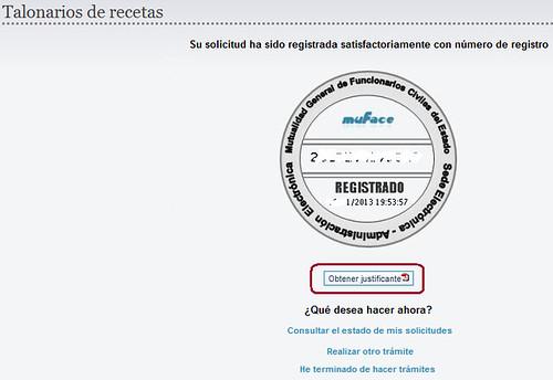 Pantalla de solicitud registrada