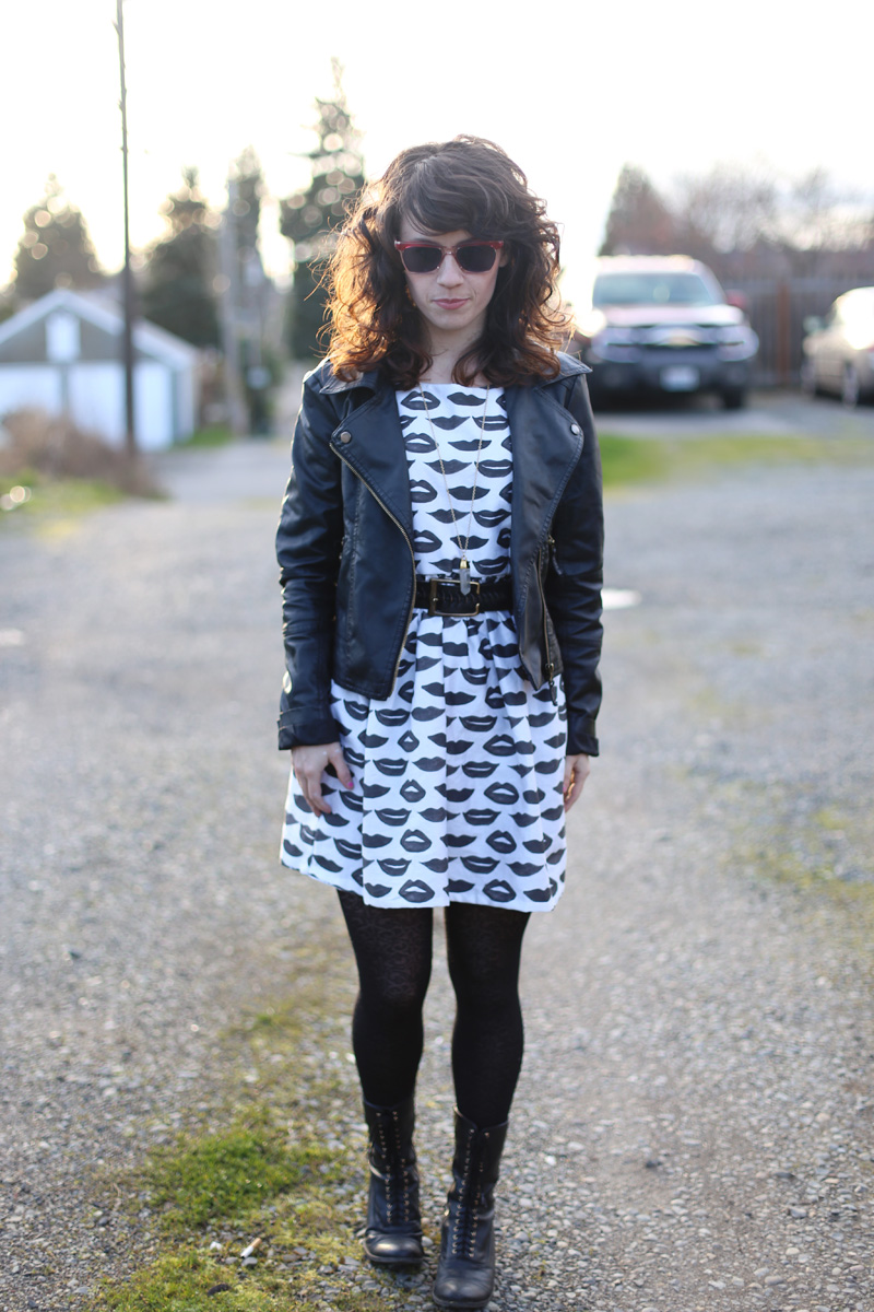 Elizabeth from Delightfully Tacky in Black Watercolor Lips Dress