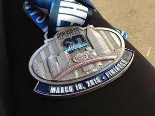 San Diego Half Marathon finisher medal
