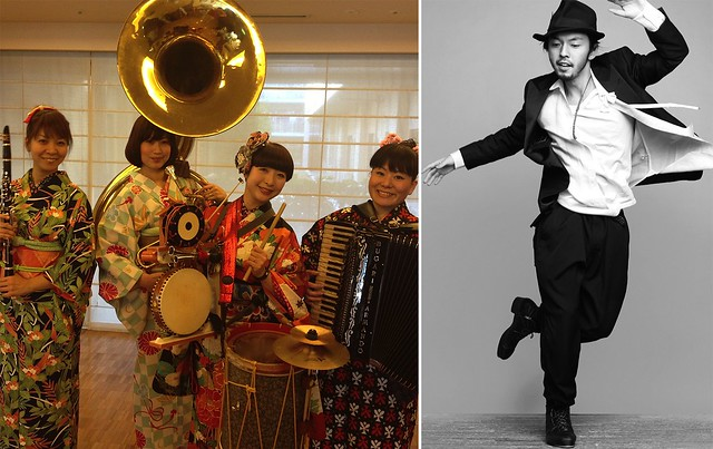 All-female chindon band Zakuro (left); photo courtesy of Kyoko Uchiki. Funky tap dancer Kazu Kumagai (right); photo by Leslie Kee.