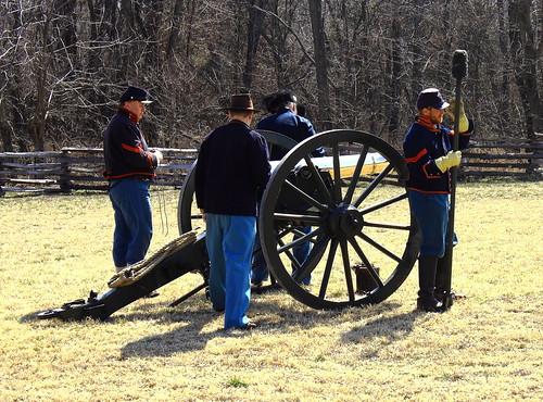 Union Soldiers Preparing to fire Artillery Piece - Pea Ridge National Military Park, Northwest Arkansas