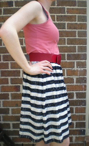 Striped stretch lace skirt