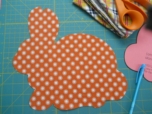 orange polka dot bunny-to-be