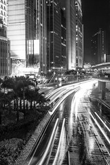 """干諾道中夜間交通 Connaught Road C Nighttime Traffic"" / 香港中環人流 Hong Kong Central Human Logistics / SML.20130326.7D.36733.BW"