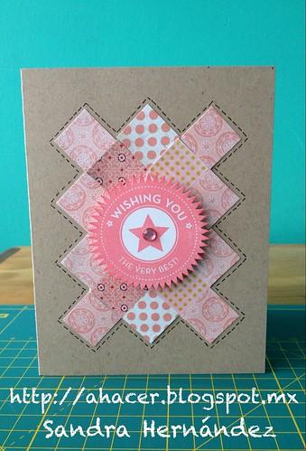 Tarjeta con patchwork rosa
