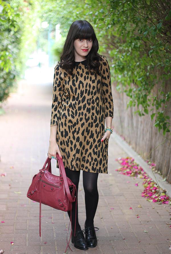 balenciaga bag, leopard dress, שמלה מנומרת, תיק בלנסיאגה, אפונה בלוג אופנה