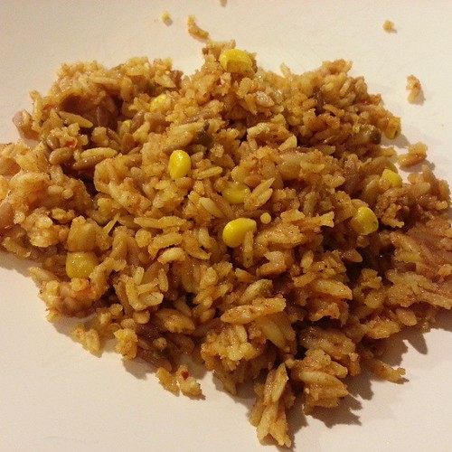 Leftover Mexican rice from yesterday's fiesta.