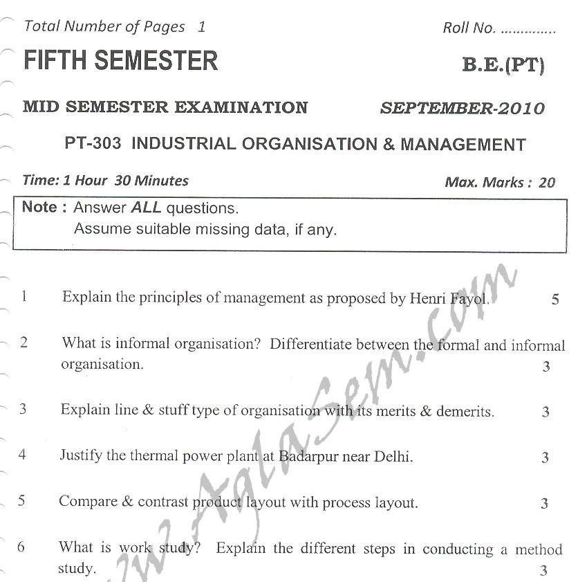 DTU Question Papers 2010 – 5 Semester - Mid Sem - PT-303