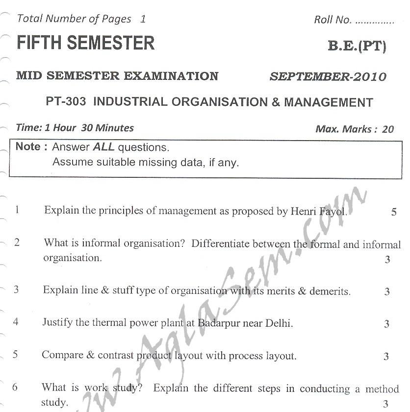 DTU Question Papers 2010 – 5 Semester - Mid Sem - PT-303