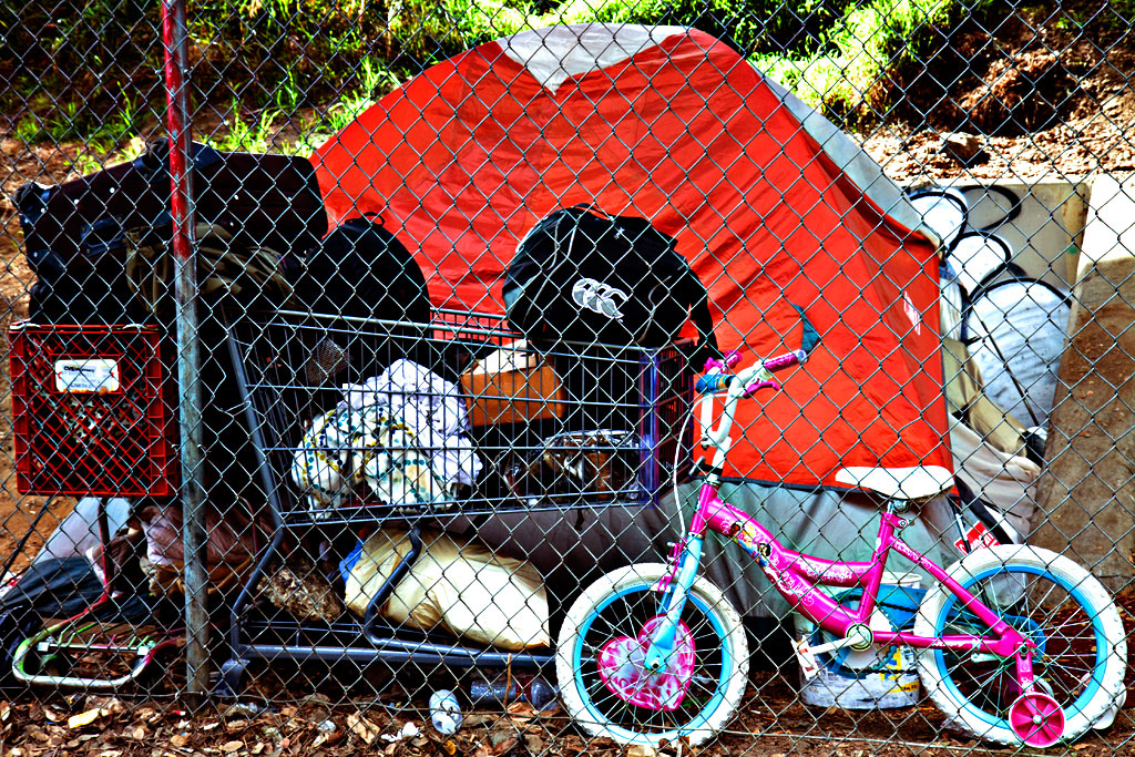 Tent-with-kid's-bike--Oakland