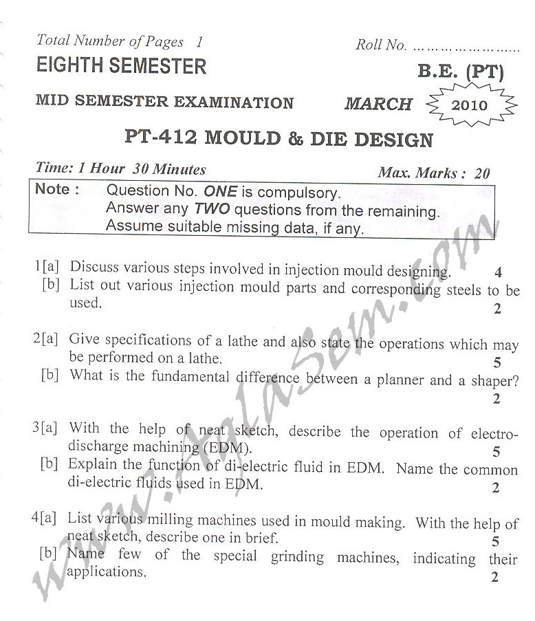 DTU Question Papers 2010 – 8 Semester - Mid Sem - PT-412
