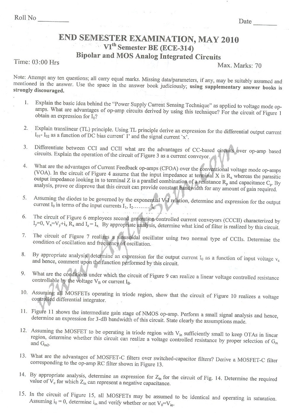 DTU Question Papers 2010 – 8 Semester - End Sem - ECE-314