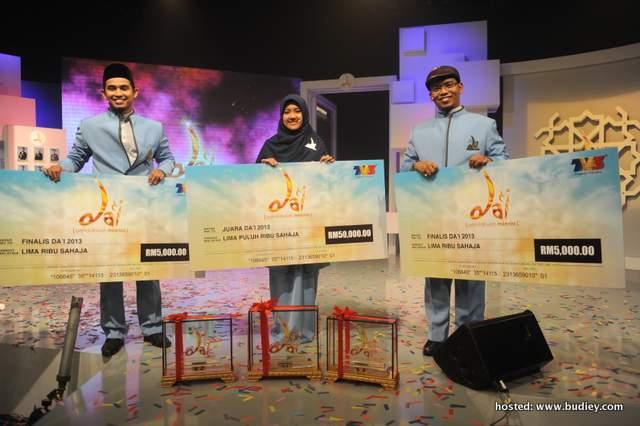 Finalis Nor Adibah Binti Rozain dinobatkan sebagai juara program Da'i musim pertama selepas mengenepikan finalis Mohamad Azamudin Bin Zainal, Muhammad Tajdid Hadhari Bin Romli!