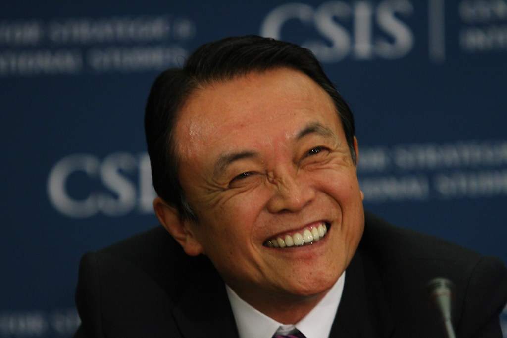 His Excellency Taro Aso (Current Finance Minister of Japan, Former Prime Minister) addresses CSIS Statesmen's Forum.