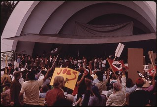 A Senior Citizens' March To Protest Inflation. Rev. Jackson Is Shown Speaking, 10/1973