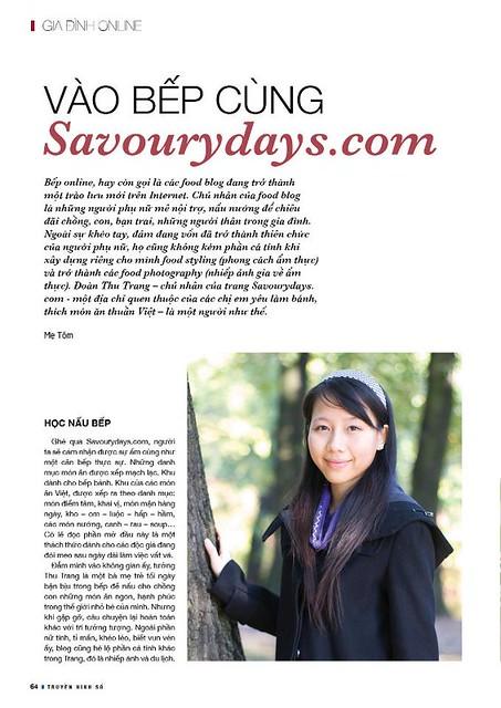 Savoury Days trên báo Truyền hình số (Tháng 4/2013)
