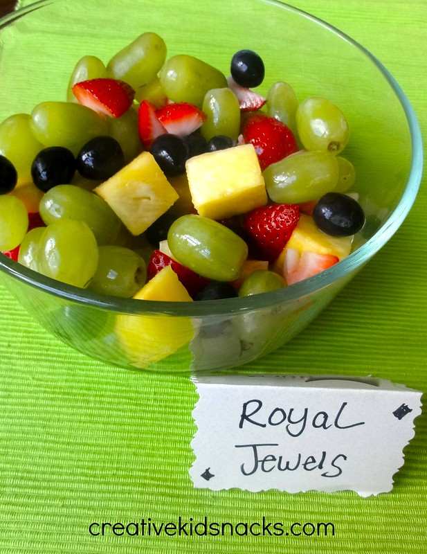 "Serve fruit labeled as ""Royal Jewels"" for an easy Princess Party menu item 