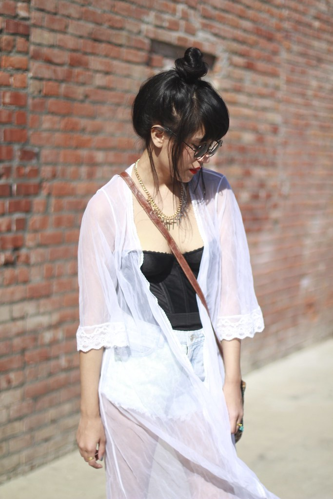 Tarte Vintage bustier, Sheer white kimono, Triangle cutout sunglasses, cutoff shorts