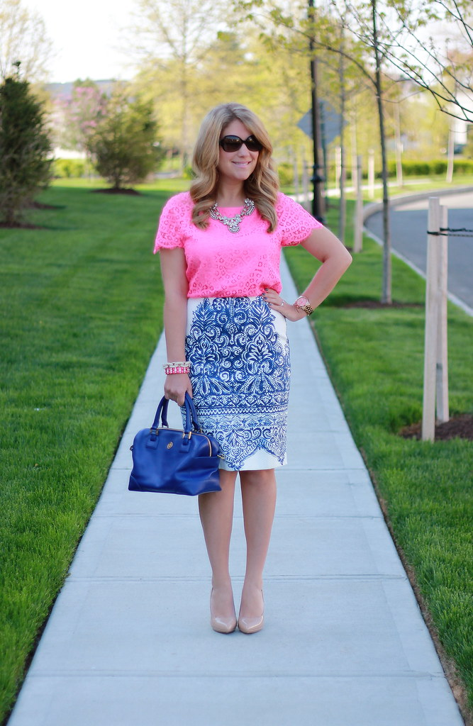 J.Crew Porcelain Paisley Skirt and pink lace top work outfit