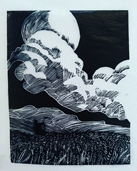 Final print on thinnest tissue paper. Black really dense and provides front and back print. Very good workshop. Really pleased and have stuff to work on and improve :blush: #woodengraving #printmaking