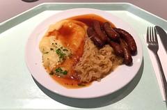 Nuremberger rostbratwurst with sauerkraut, mashed…