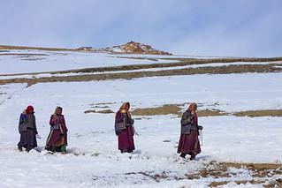 Women with prayer wheels, Ladakh