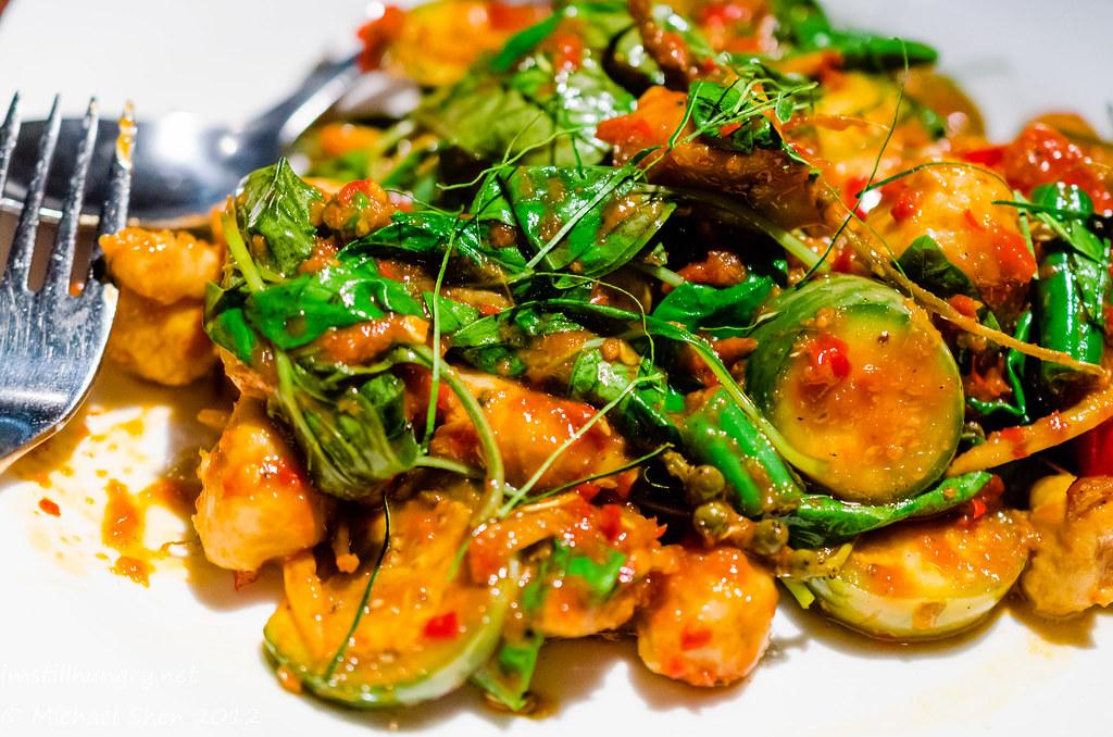 Chat Thai Padt char bpla gaia - stir fried fish dumplings w/fresh chilli, wild ginger & apple eggplants