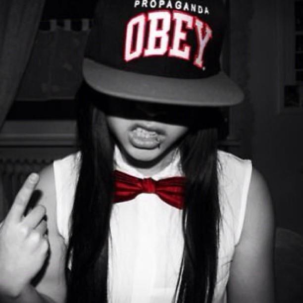 #obey #swag #girl #tumblr #red #white #black #lip # ...