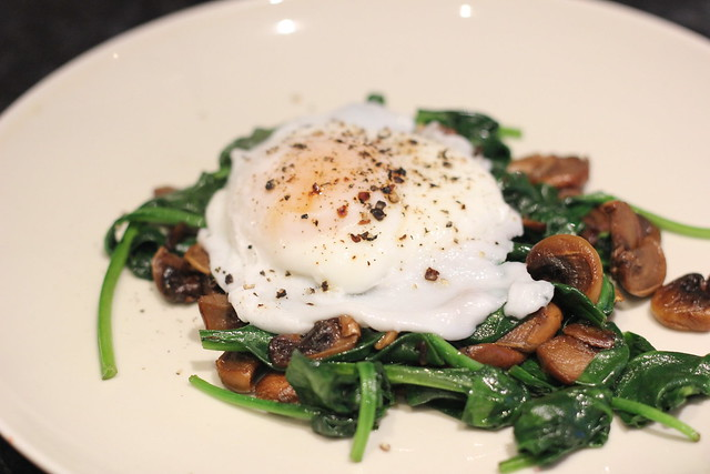 Poached egg with spinach and mushrooms