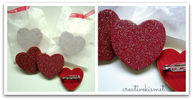 sparkly heart pins